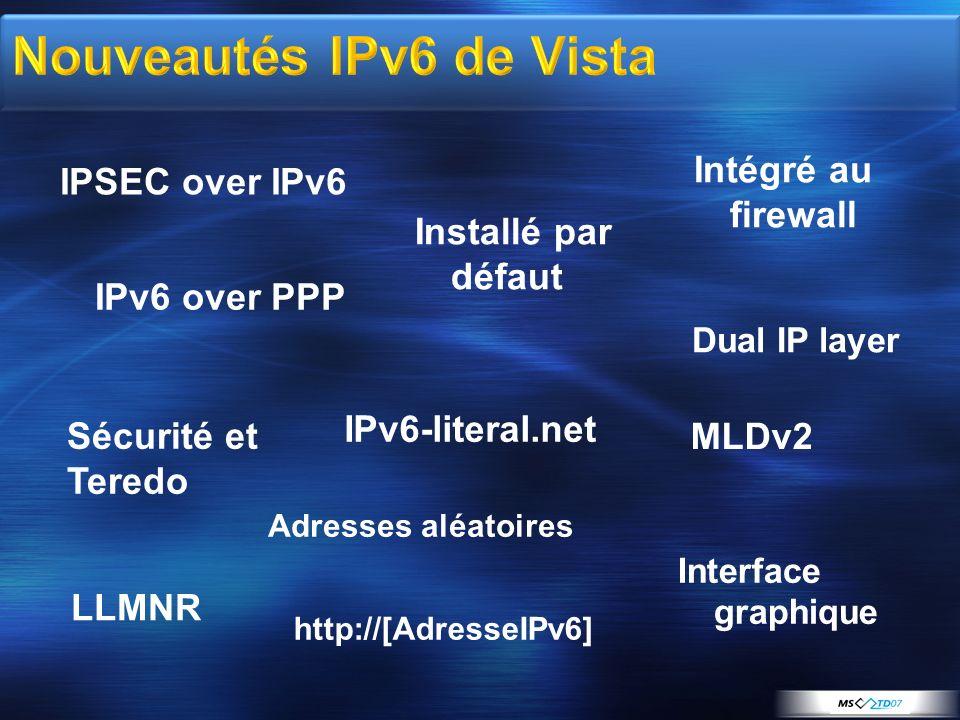 Nouveautés IPv6 de Vista