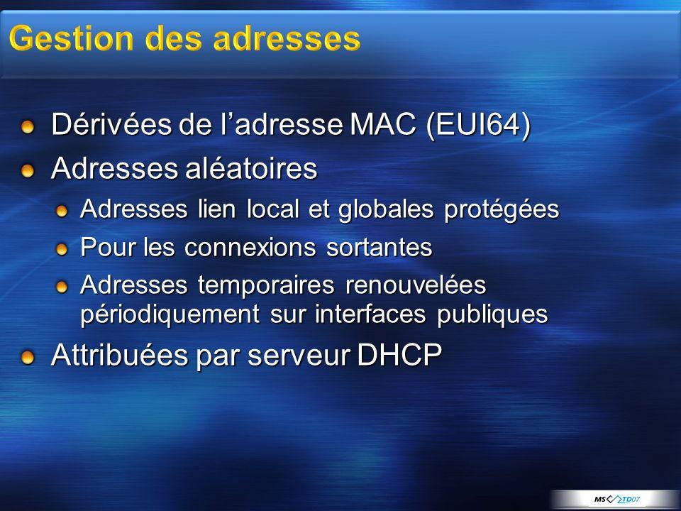 Gestion des adresses Dérivées de l'adresse MAC (EUI64)