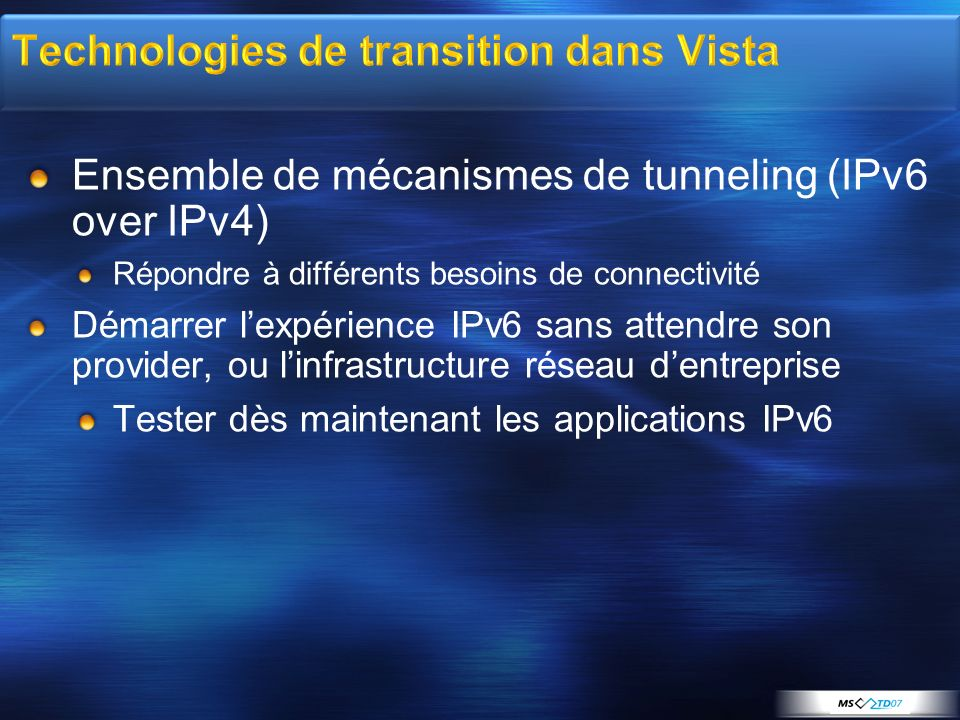 Technologies de transition dans Vista