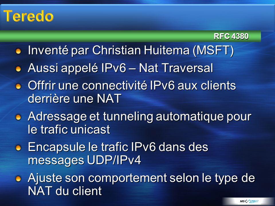 Teredo Inventé par Christian Huitema (MSFT)