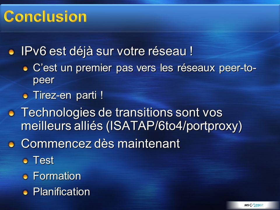 Conclusion IPv6 est déjà sur votre réseau !