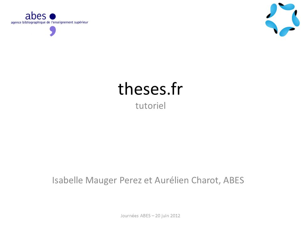 Isabelle Mauger Perez et Aurélien Charot, ABES