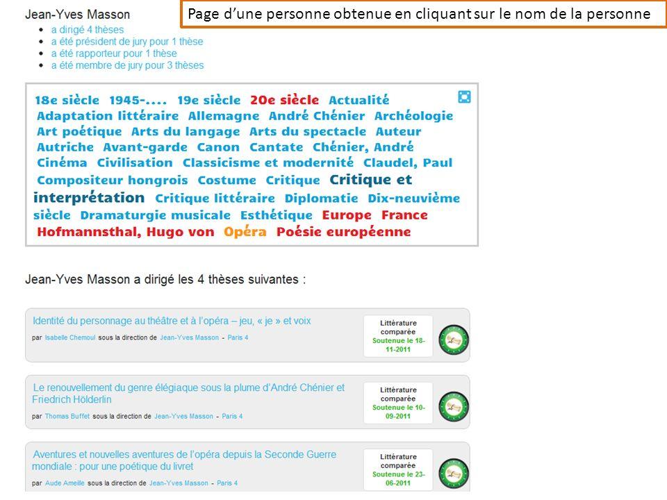 Page d'une personne obtenue en cliquant sur le nom de la personne