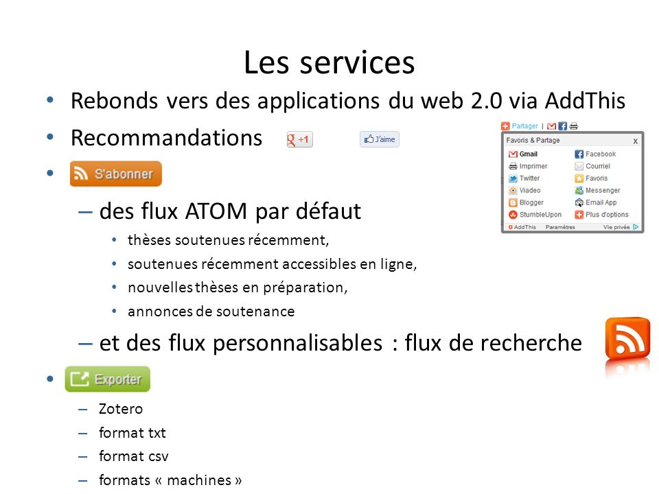 Les services Rebonds vers des applications du web 2.0 via AddThis