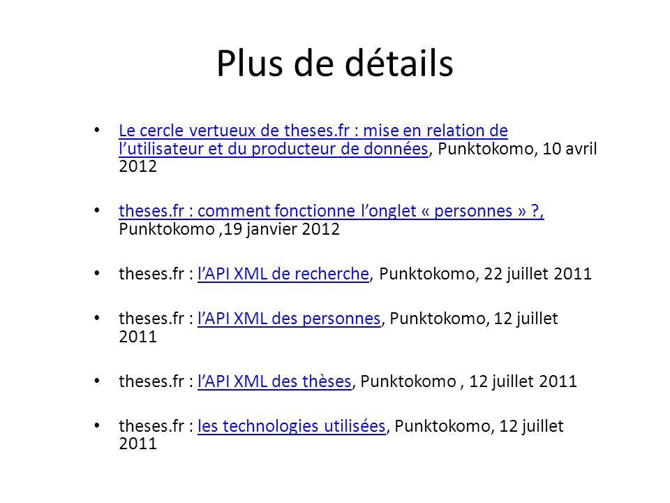 Plus de détails Le cercle vertueux de theses.fr : mise en relation de l'utilisateur et du producteur de données, Punktokomo, 10 avril 2012.