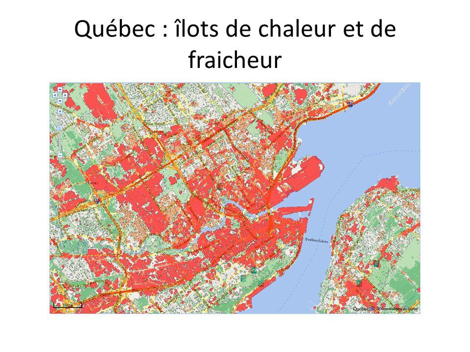 Québec : îlots de chaleur et de fraicheur