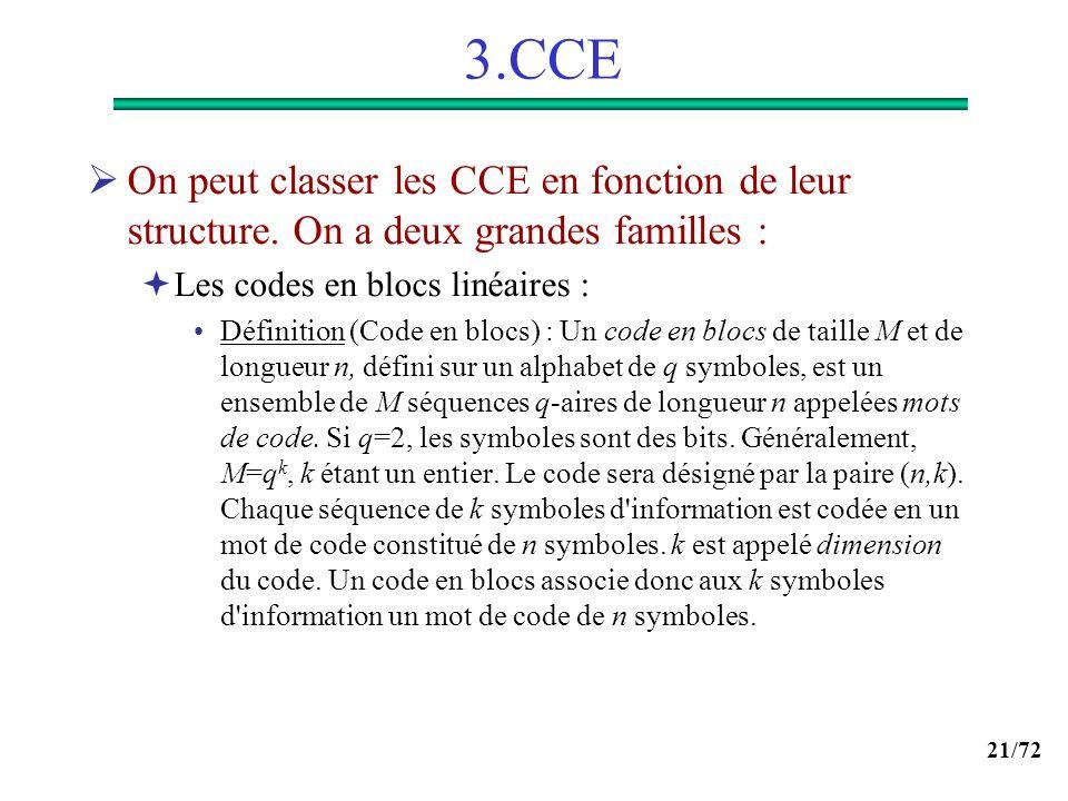 3.CCE On peut classer les CCE en fonction de leur structure. On a deux grandes familles : Les codes en blocs linéaires :