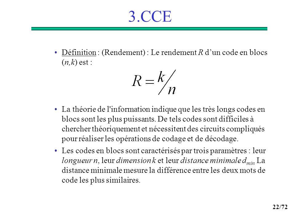 3.CCE Définition : (Rendement) : Le rendement R d'un code en blocs (n,k) est :