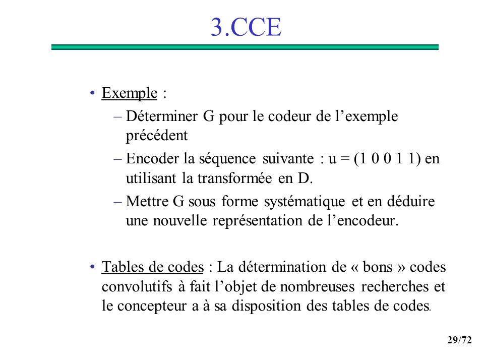 3.CCE Exemple : Déterminer G pour le codeur de l'exemple précédent
