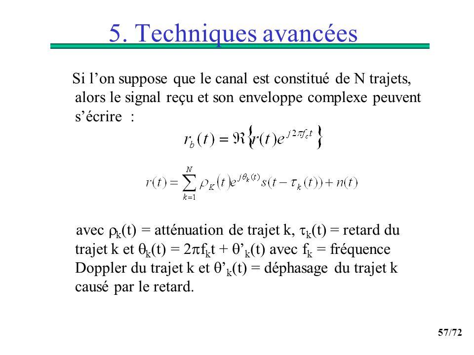5. Techniques avancées Si l'on suppose que le canal est constitué de N trajets, alors le signal reçu et son enveloppe complexe peuvent s'écrire :