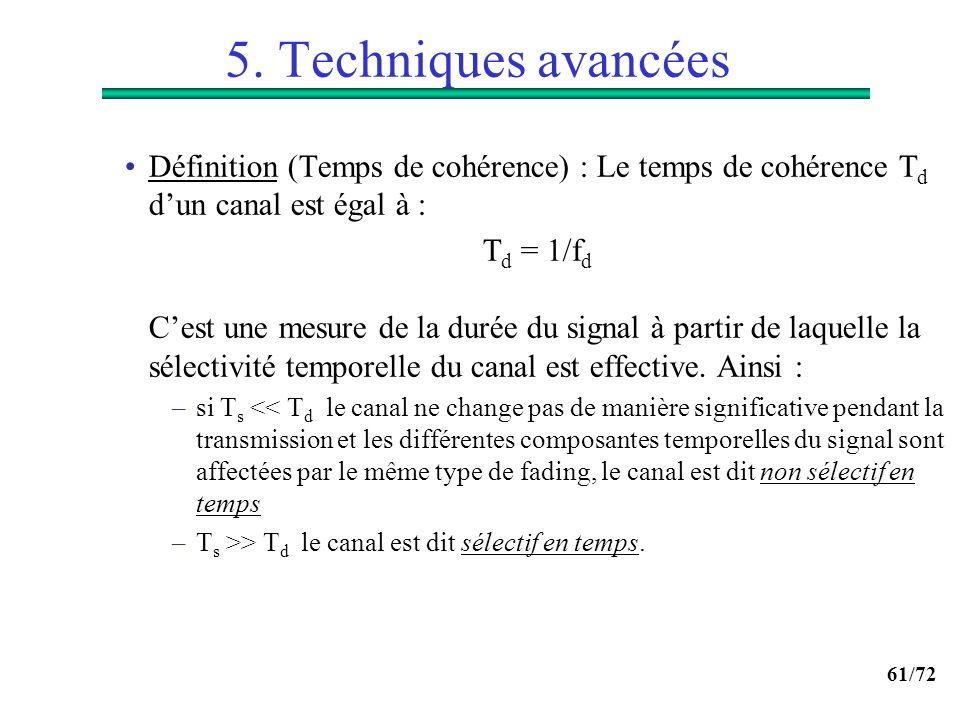 5. Techniques avancées Définition (Temps de cohérence) : Le temps de cohérence Td d'un canal est égal à :