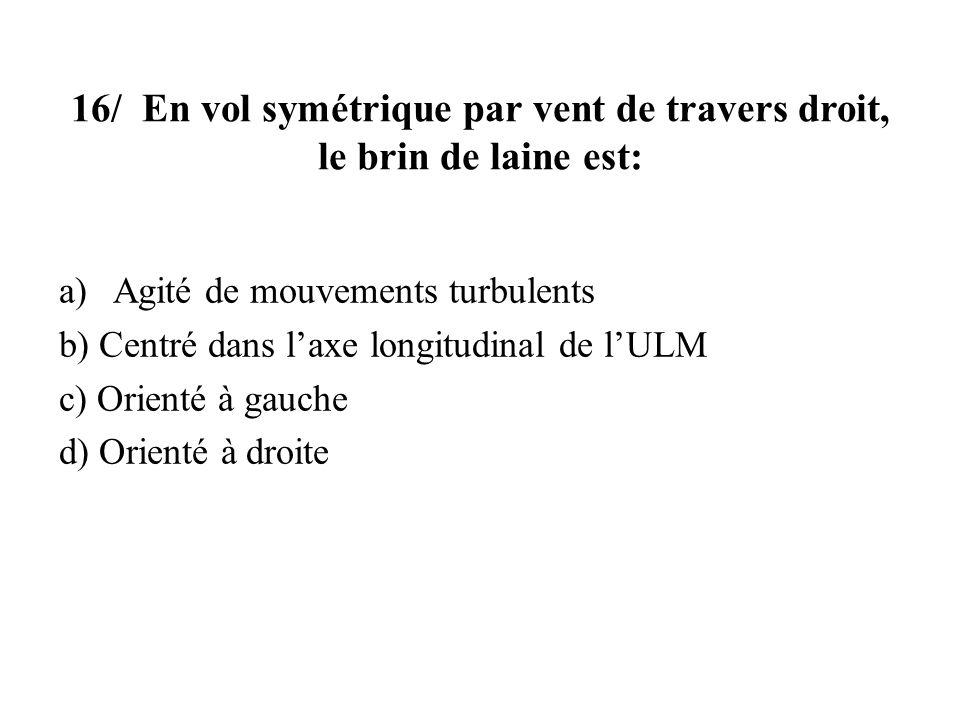 16/ En vol symétrique par vent de travers droit, le brin de laine est: