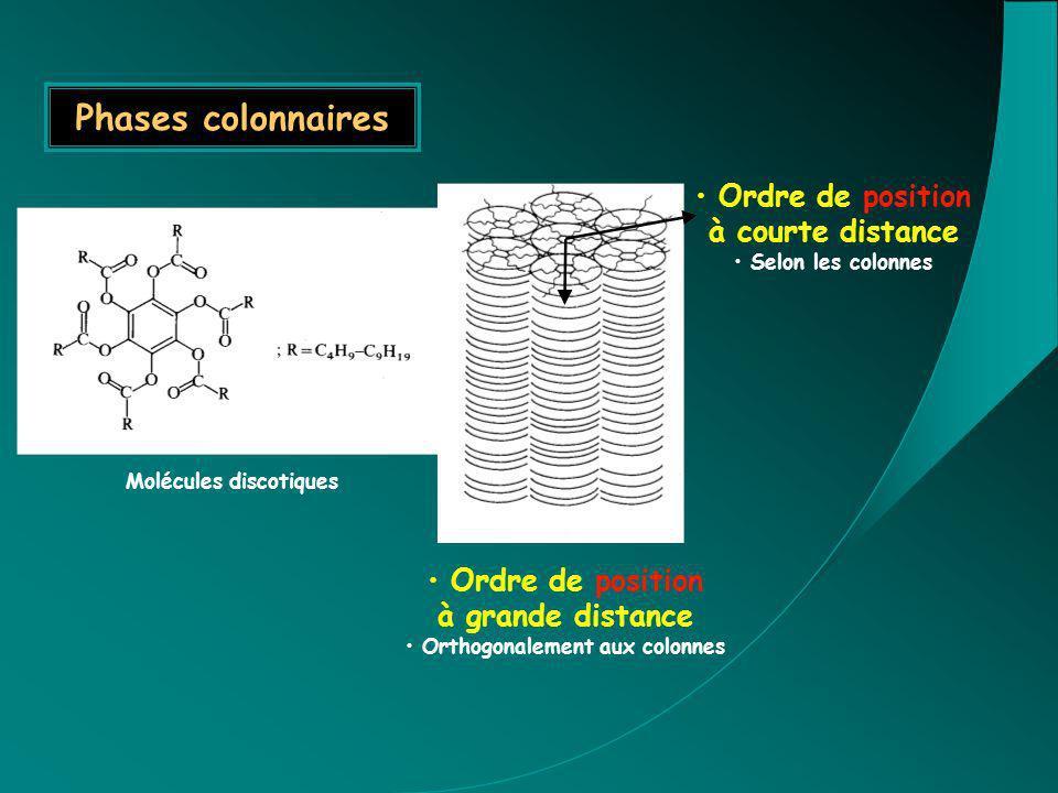 Molécules discotiques Orthogonalement aux colonnes