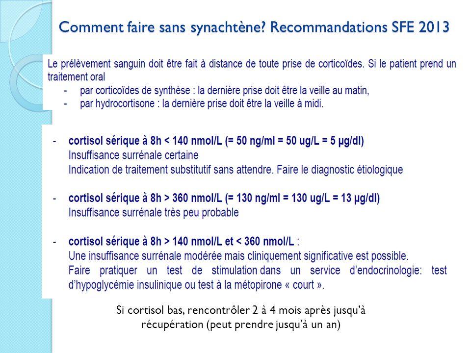 Comment faire sans synachtène Recommandations SFE 2013