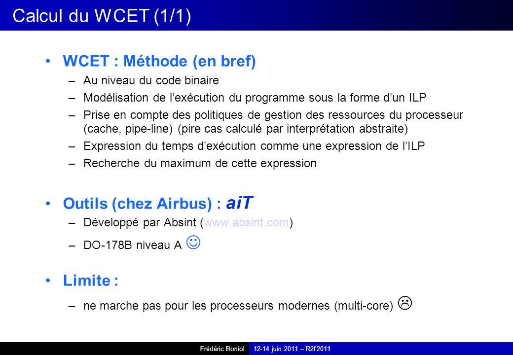 Calcul du WCET (1/1) WCET : Méthode (en bref)