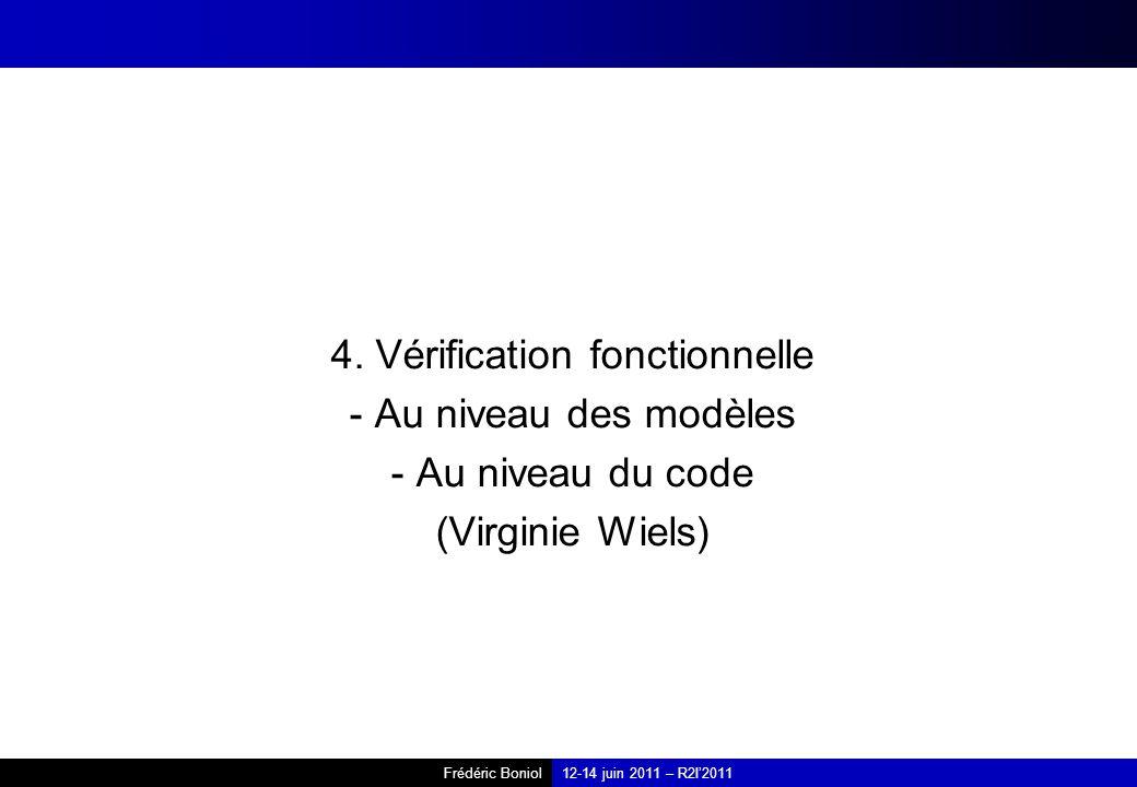4. Vérification fonctionnelle - Au niveau des modèles - Au niveau du code (Virginie Wiels)