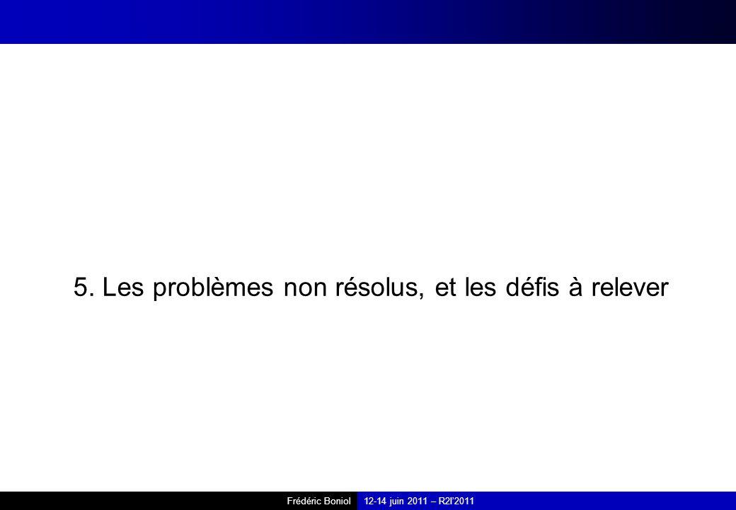 5. Les problèmes non résolus, et les défis à relever
