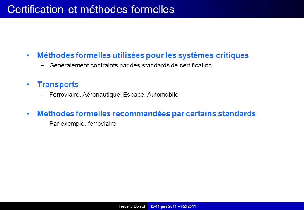 Certification et méthodes formelles