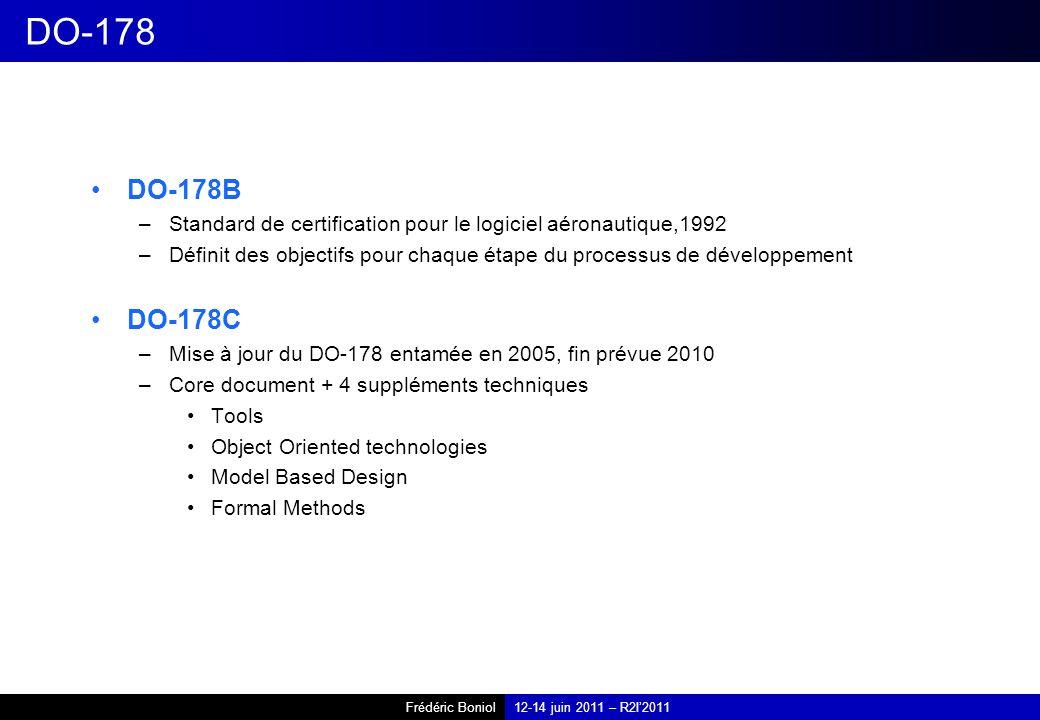 DO-178 DO-178B. Standard de certification pour le logiciel aéronautique,1992. Définit des objectifs pour chaque étape du processus de développement.