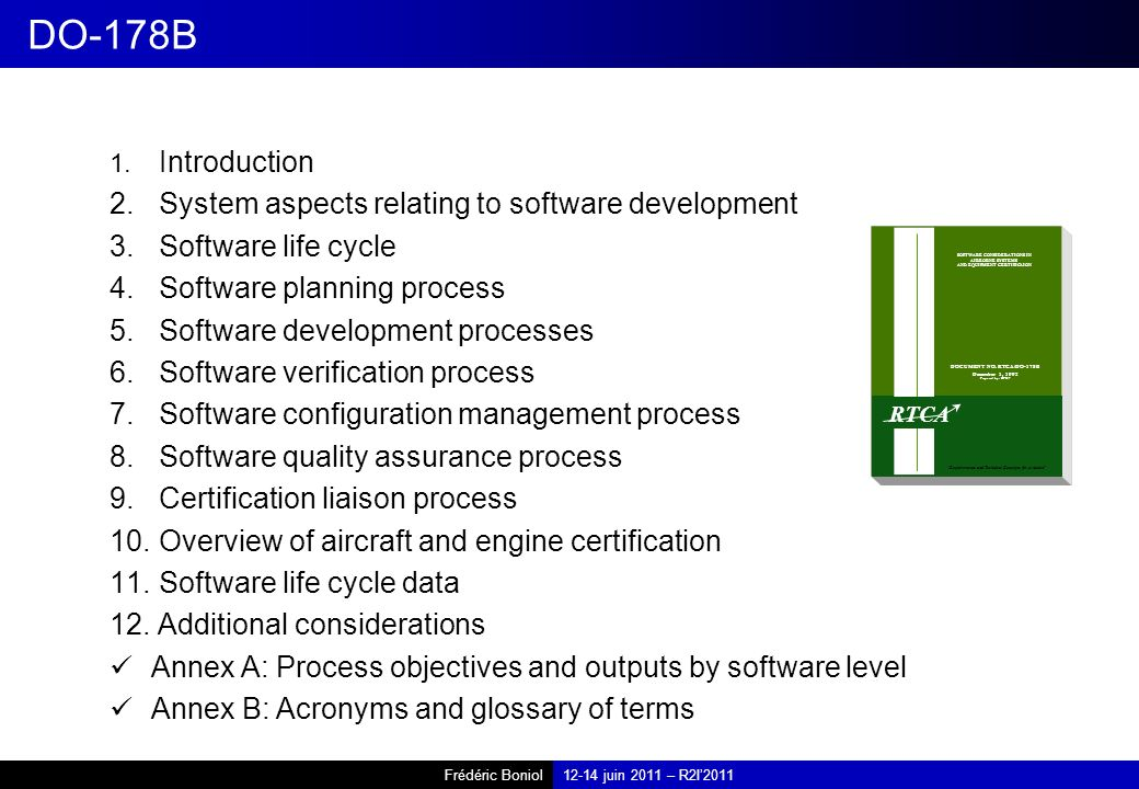 DO-178B System aspects relating to software development