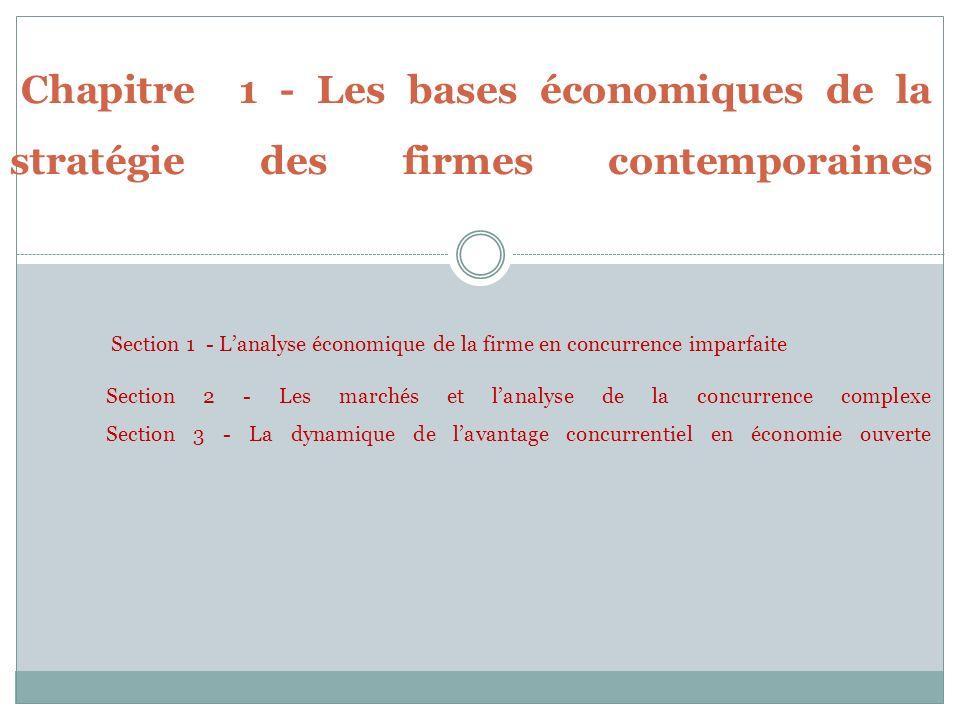 Chapitre 1 - Les bases économiques de la stratégie des firmes contemporaines Section 1 - L'analyse économique de la firme en concurrence imparfaite Section 2 - Les marchés et l'analyse de la concurrence complexe Section 3 - La dynamique de l'avantage concurrentiel en économie ouverte