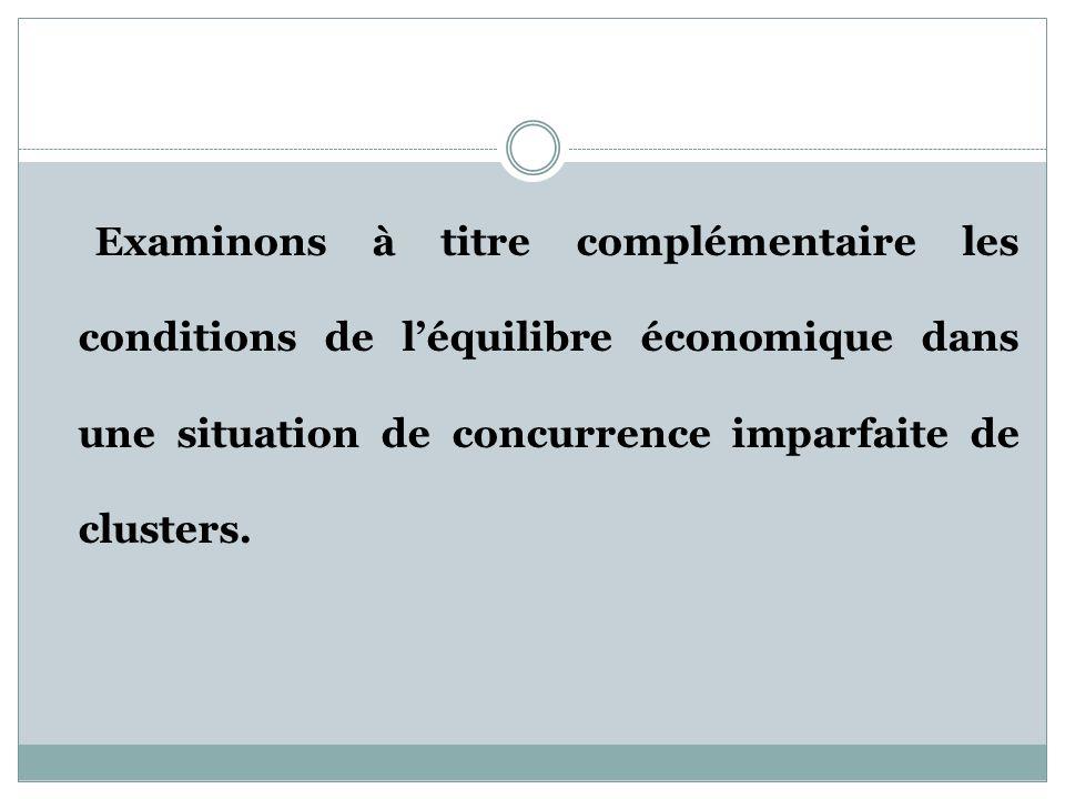 Examinons à titre complémentaire les conditions de l'équilibre économique dans une situation de concurrence imparfaite de clusters.