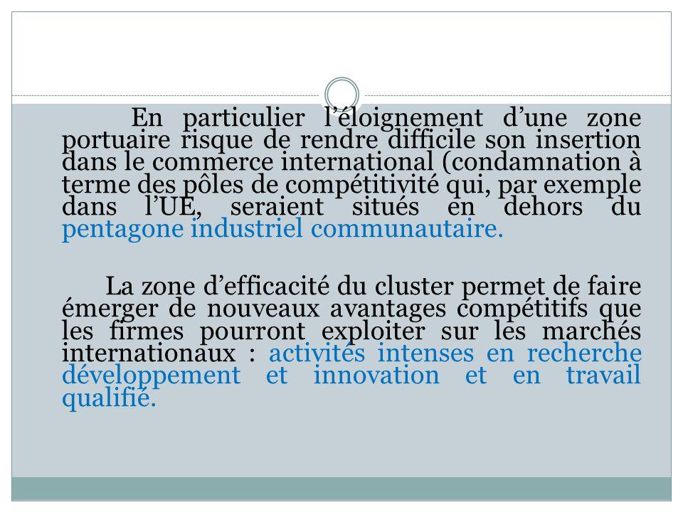 En particulier l'éloignement d'une zone portuaire risque de rendre difficile son insertion dans le commerce international (condamnation à terme des pôles de compétitivité qui, par exemple dans l'UE, seraient situés en dehors du pentagone industriel communautaire.