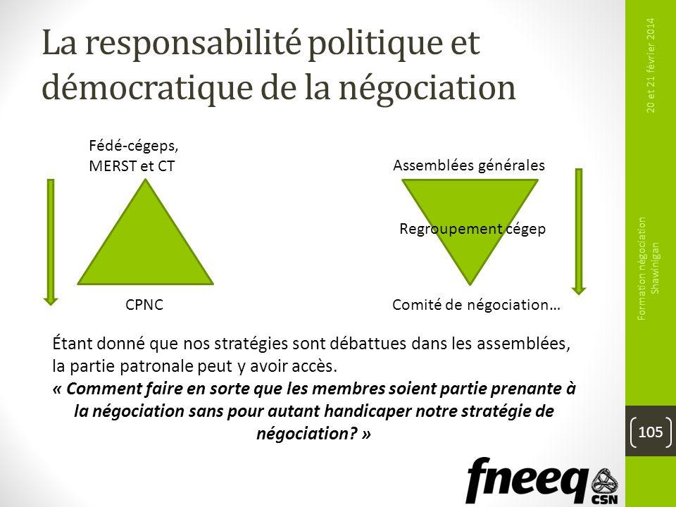 La responsabilité politique et démocratique de la négociation