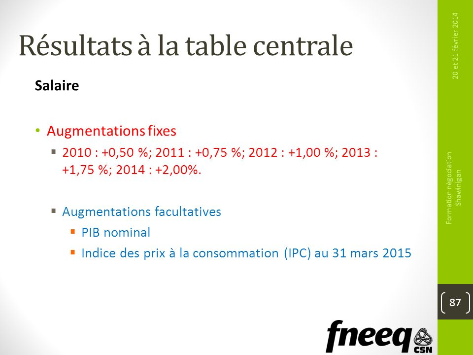 Résultats à la table centrale