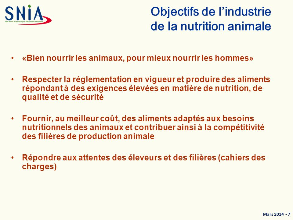Objectifs de l'industrie de la nutrition animale