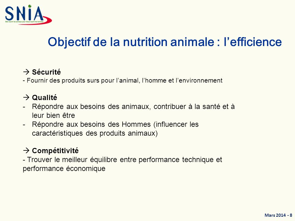 Objectif de la nutrition animale : l'efficience