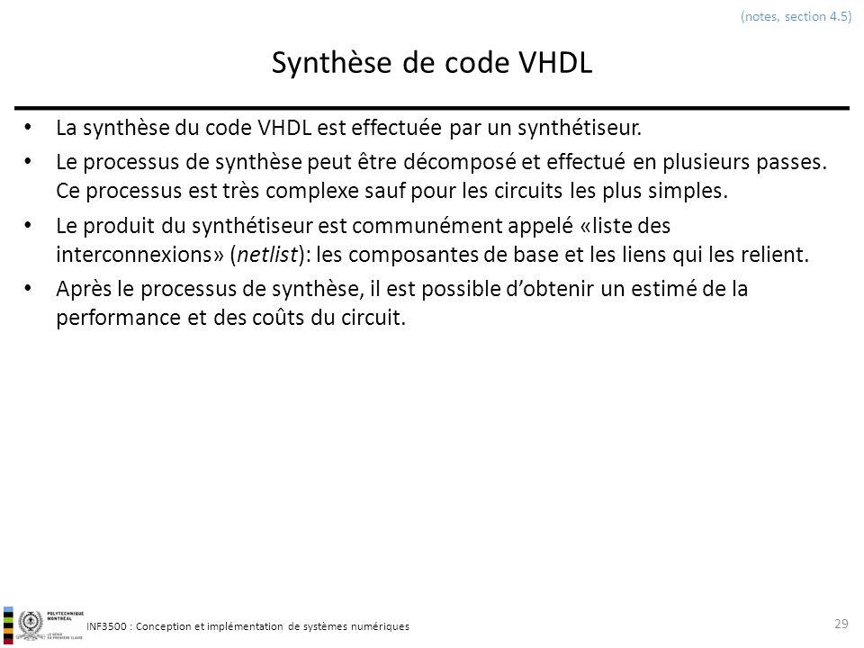 (notes, section 4.5) Synthèse de code VHDL. La synthèse du code VHDL est effectuée par un synthétiseur.