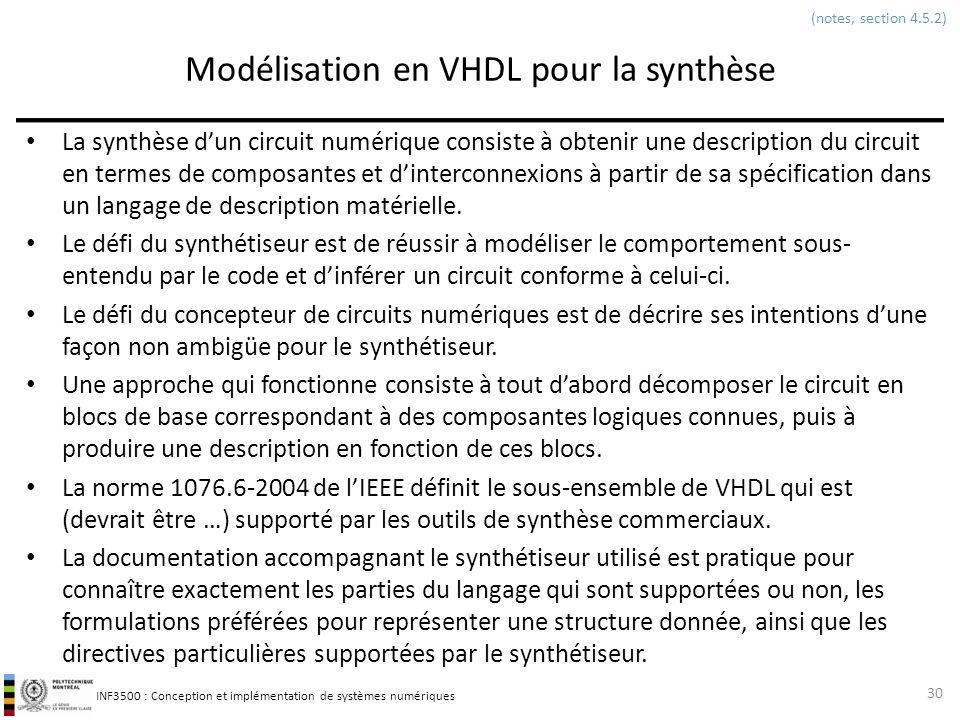 Modélisation en VHDL pour la synthèse