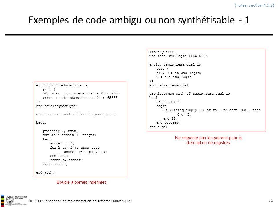 Exemples de code ambigu ou non synthétisable - 1