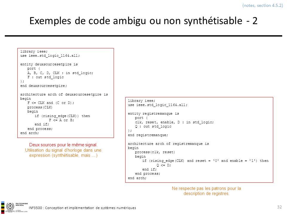 Exemples de code ambigu ou non synthétisable - 2