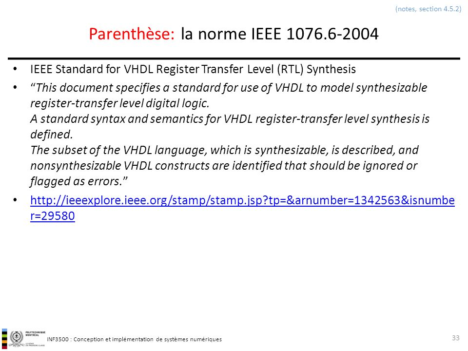 Parenthèse: la norme IEEE 1076.6-2004