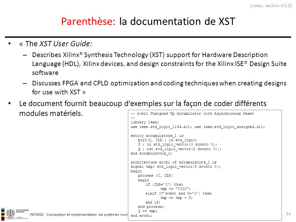 Parenthèse: la documentation de XST
