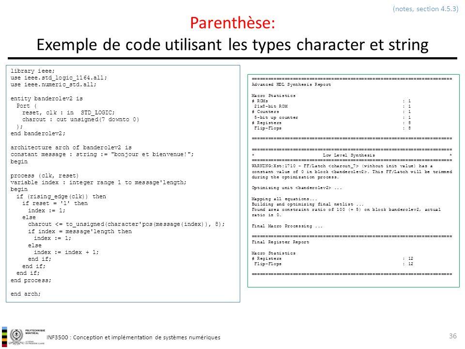 Parenthèse: Exemple de code utilisant les types character et string