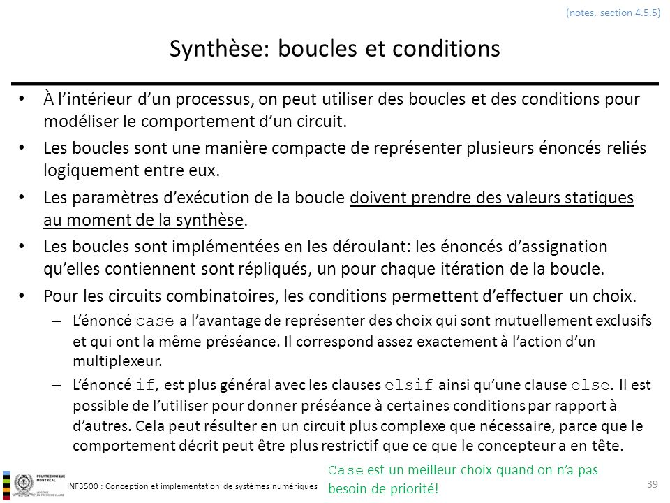 Synthèse: boucles et conditions