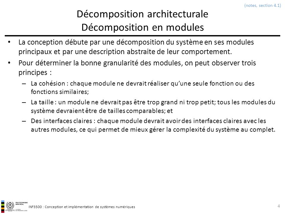 Décomposition architecturale Décomposition en modules
