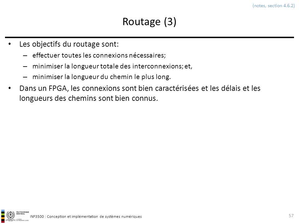 Routage (3) Les objectifs du routage sont: