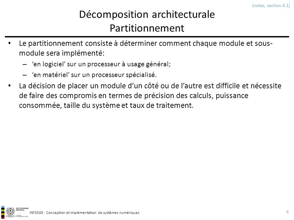 Décomposition architecturale Partitionnement