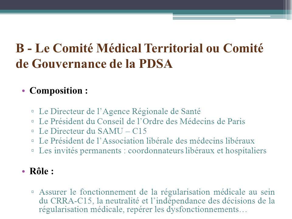 B - Le Comité Médical Territorial ou Comité de Gouvernance de la PDSA
