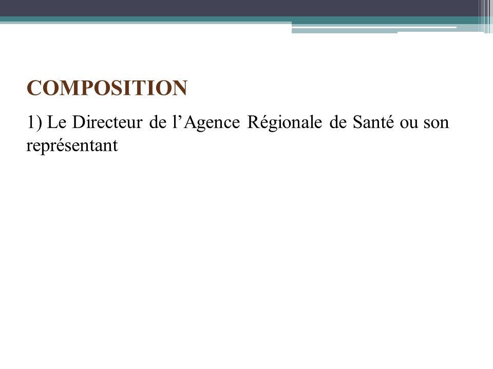 COMPOSITION 1) Le Directeur de l'Agence Régionale de Santé ou son représentant
