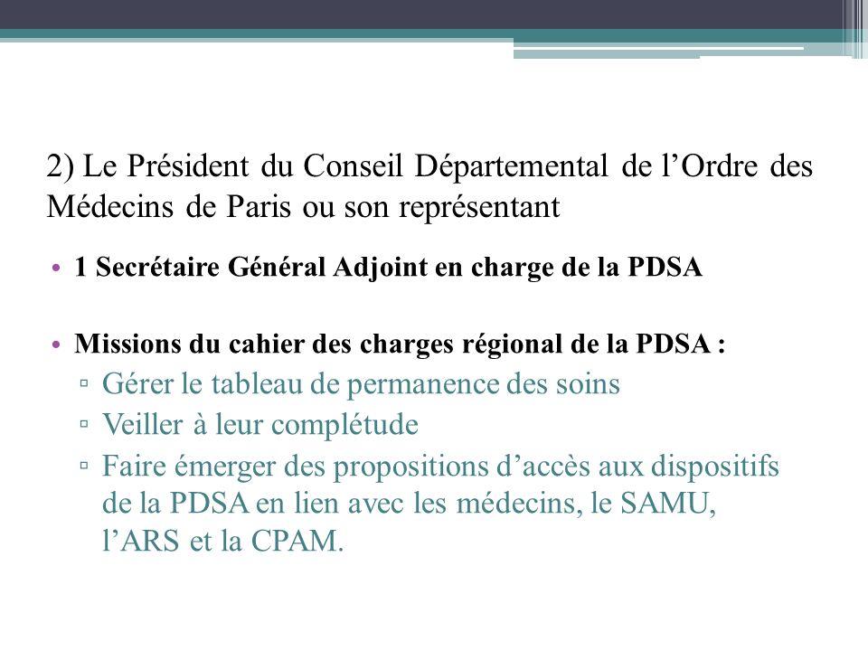 2) Le Président du Conseil Départemental de l'Ordre des Médecins de Paris ou son représentant