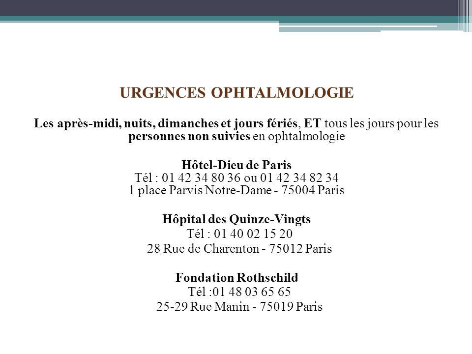 URGENCES OPHTALMOLOGIE Hôpital des Quinze-Vingts