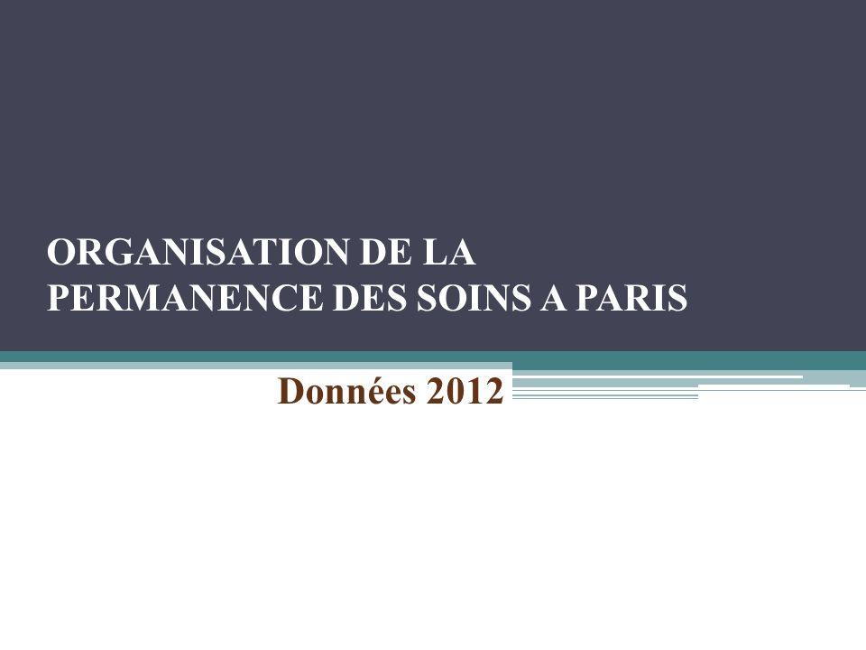 ORGANISATION DE LA PERMANENCE DES SOINS A PARIS Données 2012