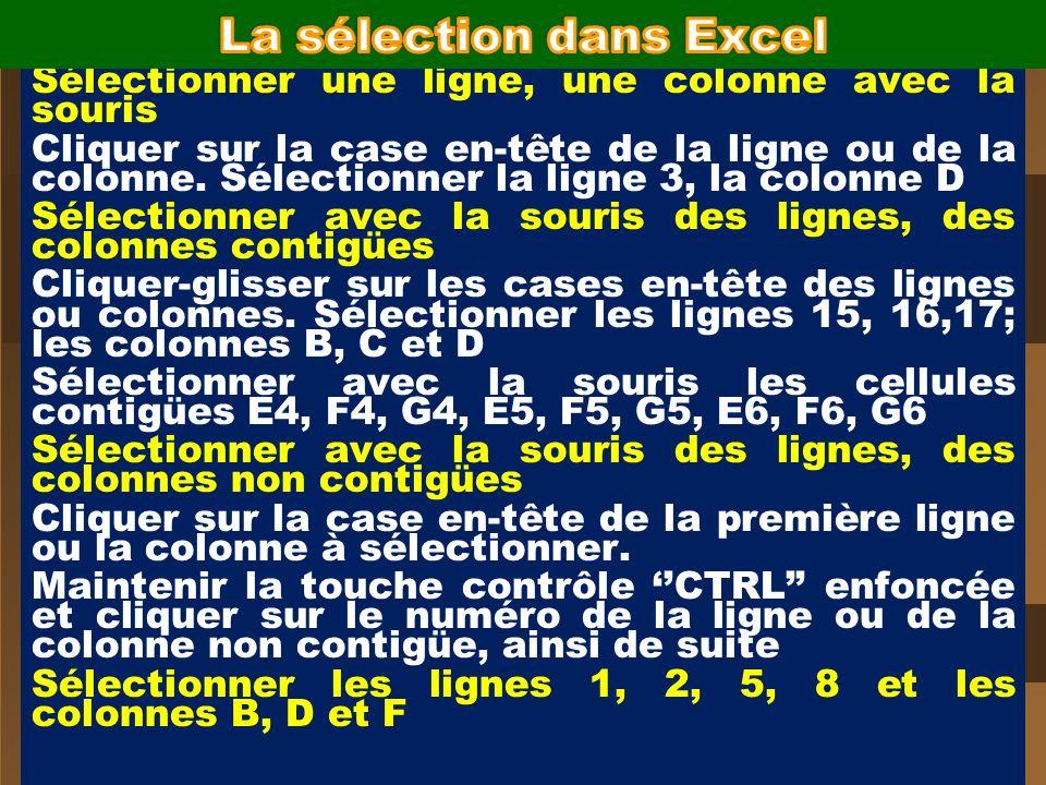 La sélection dans Excel