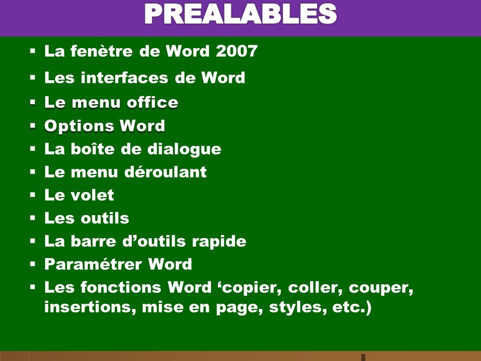 PREALABLES La fenètre de Word 2007 Les interfaces de Word
