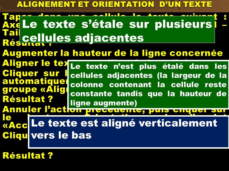 ALIGNEMENT ET ORIENTATION D'UN TEXTE